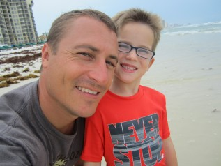 Jason Barrett with his son