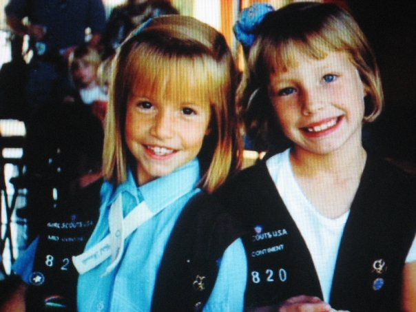 young Taylor Russo and friend in girl scouts