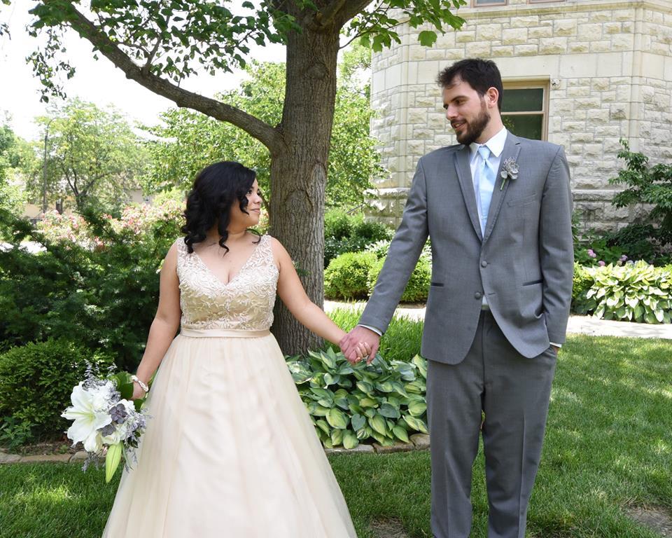 Thomas with wife on wedding day