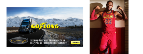 GoodYear advertisement on the left, LeBron James on the right