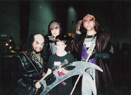 Young Jeremy with people dressed as Klingon Mercenaries