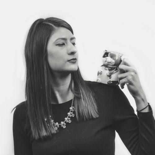 Nicole H with cat mug on shoulder