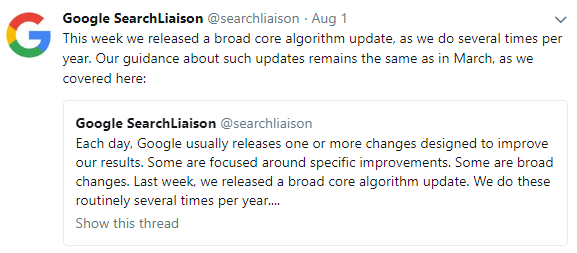 Tweet from Google Search Liaison
