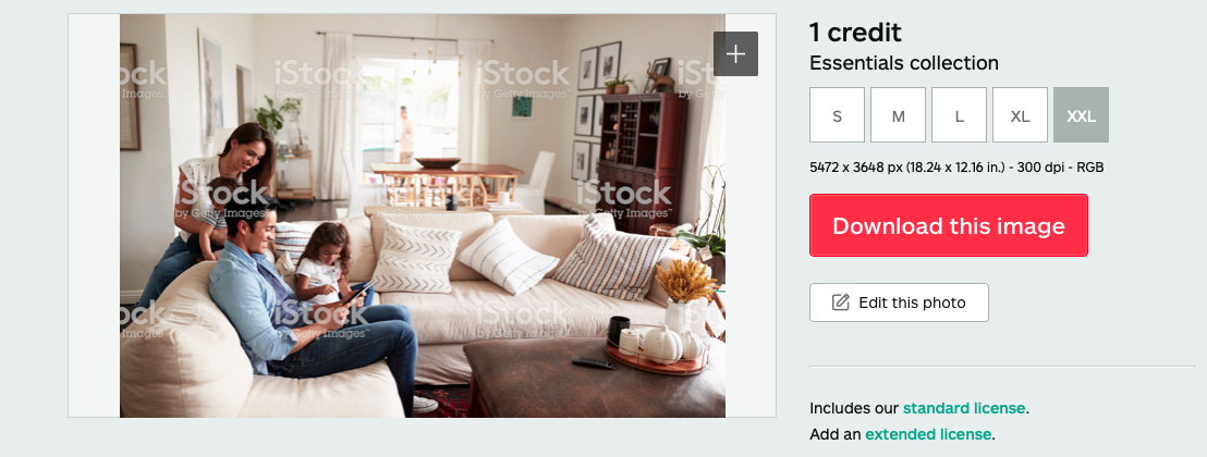 istockphoto.com screenshot showing that images may be downloaded at a high resolution and edited after the fact