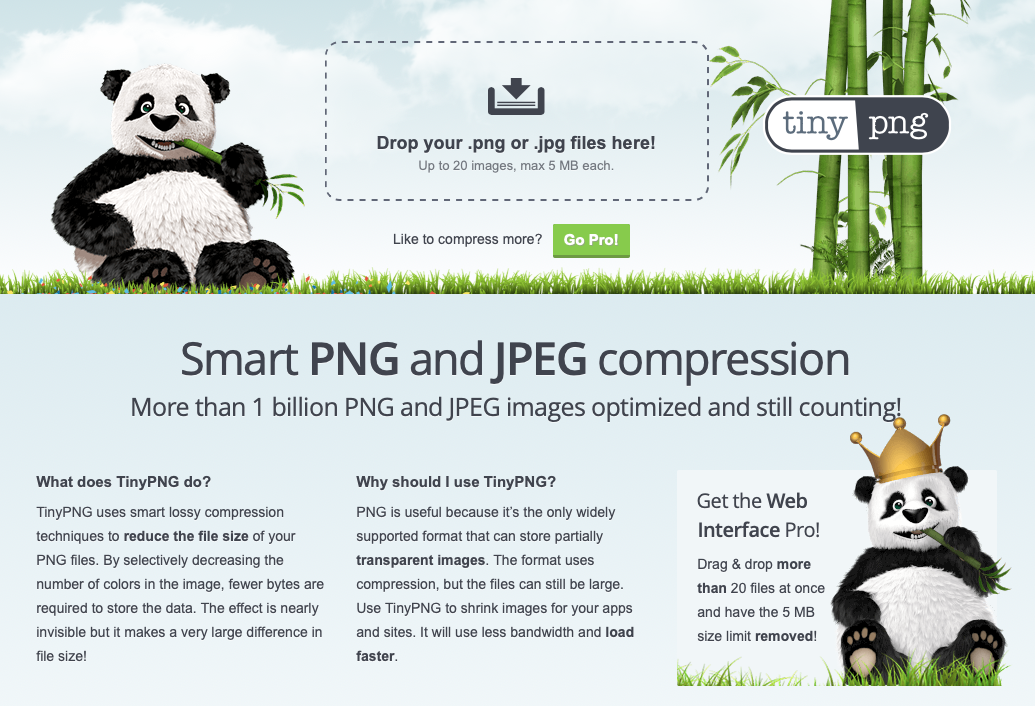 tinypng.com is a service that allows you to easily compress your JPG and PNG images.