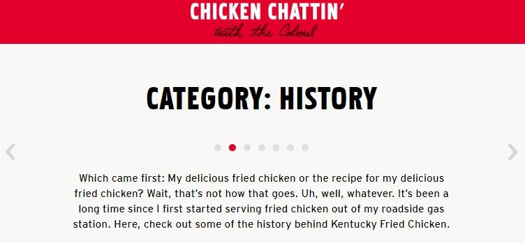 Screenshot of KFC website