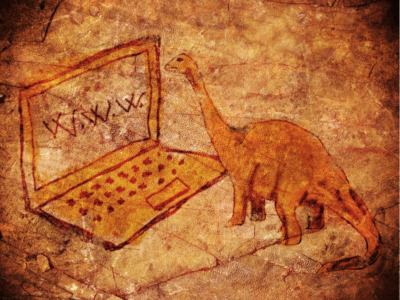 prehistoric petroglyph with computer and dinosaur