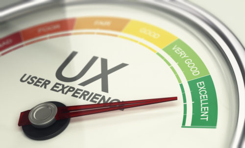 3D illustration of an user experience gauge with the needle pointing excellent UX. Marketing concept