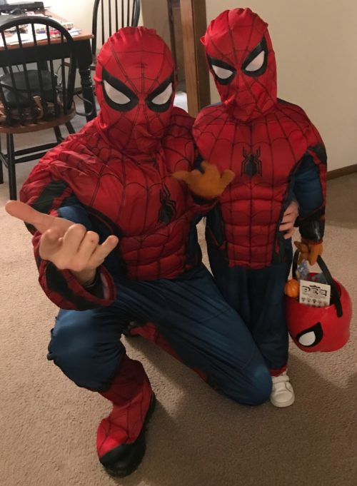 Cody and his son dressed up as spider man