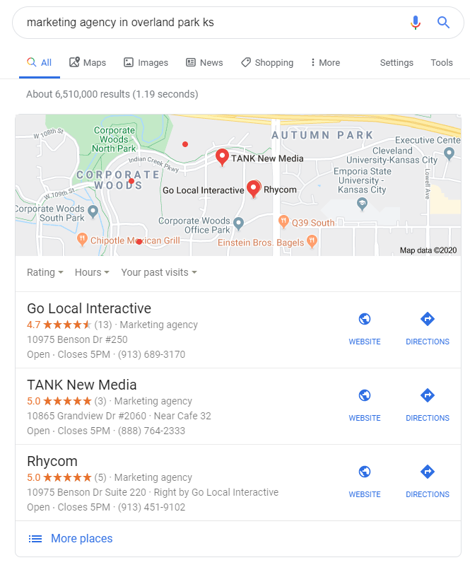 SERP result showing Google Map Pack