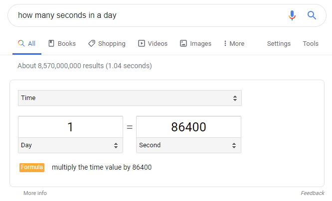 SERP result showing a quick answer to a simple math question