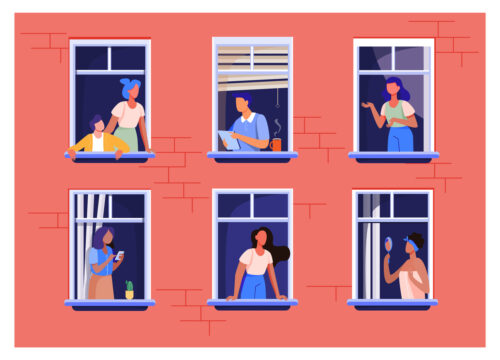 Clipart of six people looking out of apartment building windows.