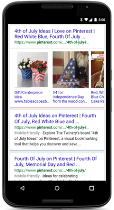 Pinterest on mobile. Fourth of July search