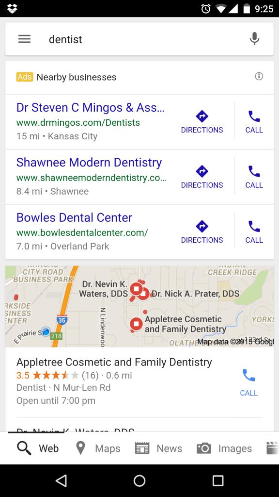Google mobile AdWords for local businesses, screenshot taken on Nexus 6.