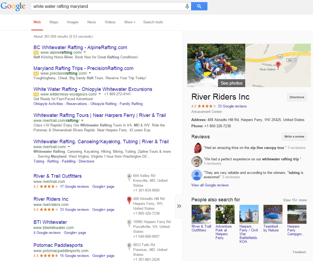 White Water Rafting Maryland search on Google