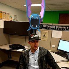 Pokemon on Austin's head